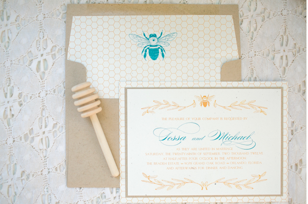 Amalie Orrange Photography, Dogwood Blossom Stationery, honeybee invitation, Orlando weddings