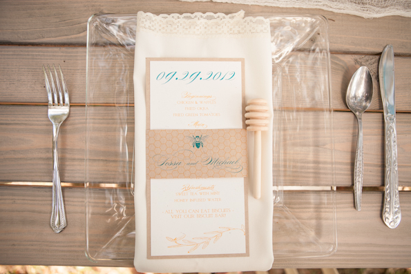 Amalie Orrange Photography, Dogwood Blossom Stationery, Honeycomb menu, Orlando weddings