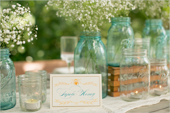 Amalie Orrange Photography, Dogwood Blossom Stationery, Mason jar centerpieces, Orlando weddings