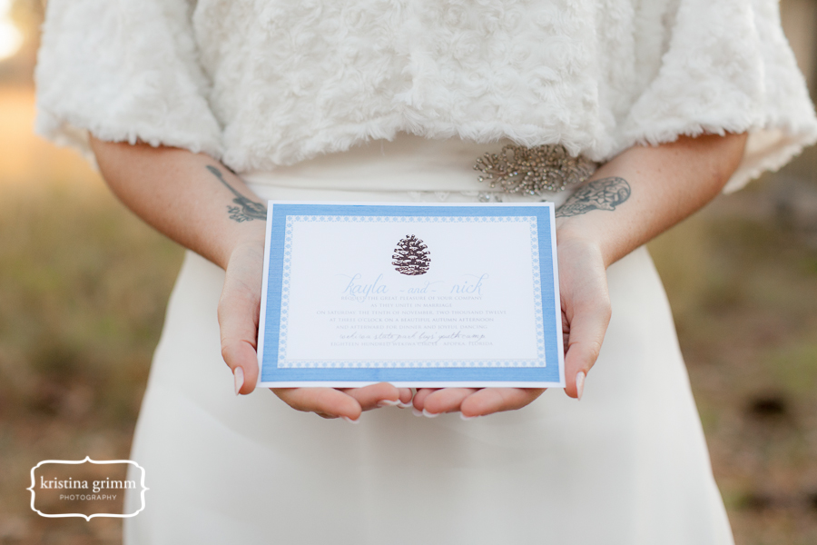 Bumby Photography, Dogwood Blossom Stationery, Wekiwa State Park, blue invitation