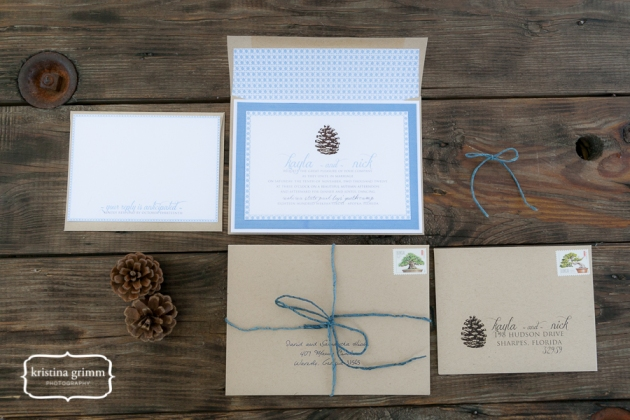 Bumby Photography, Dogwood Blossom Stationery, Wekiwa State Park, winter invitation suite