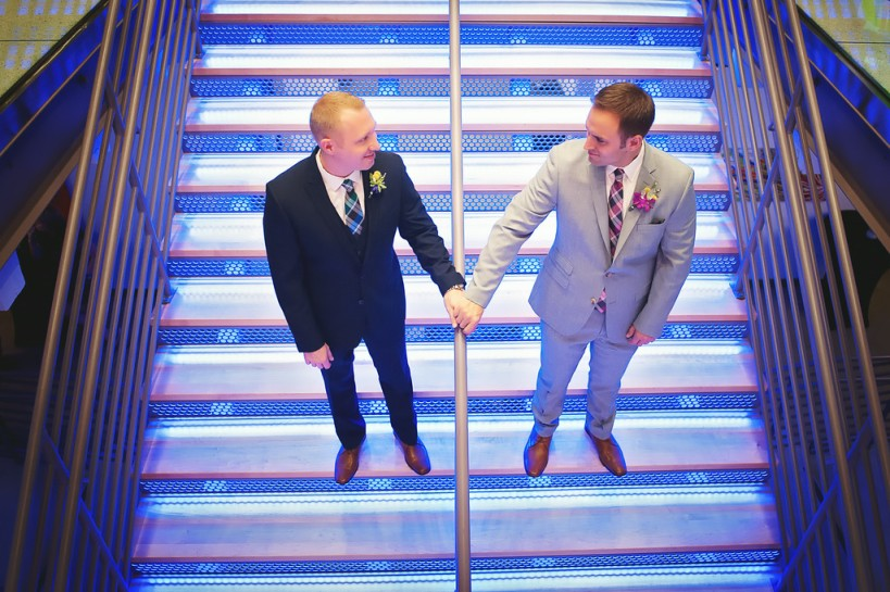 Lauren Watai Photography, Dogwood Blossom Stationery, Orlando weddings, grooms on staircase