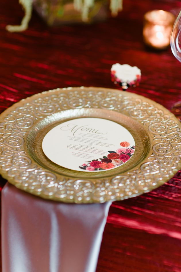 Errol Colon Photography, Dogwood Blossom Stationery, Orlando weddings, round menu