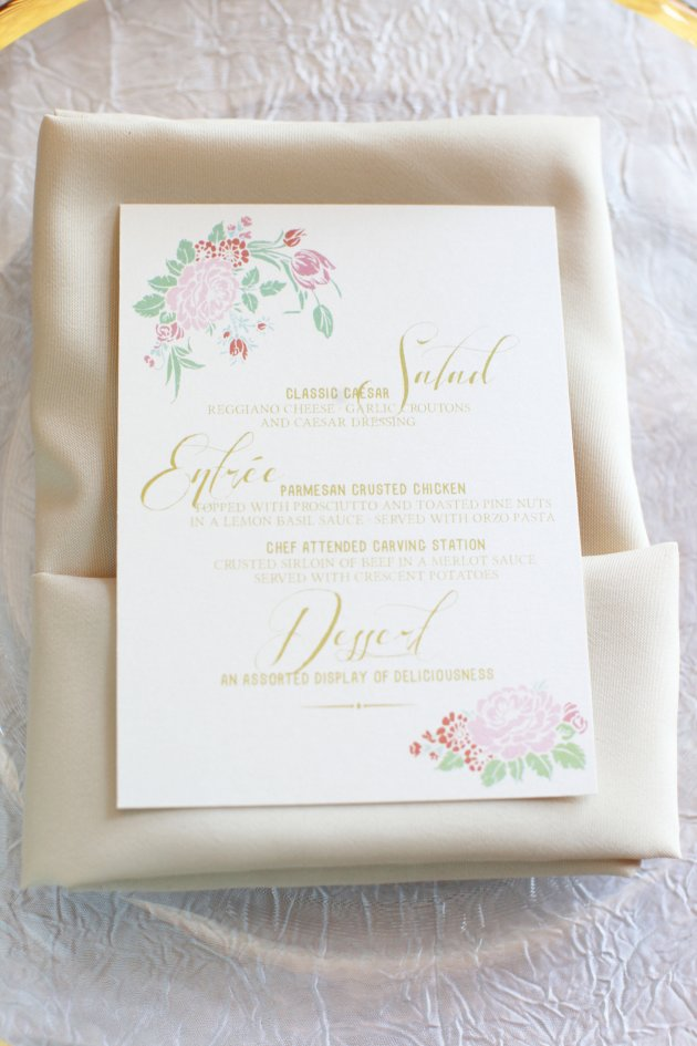 Wings of Glory Photography, Dogwood Blossom Stationery, Orlando Weddings, menu