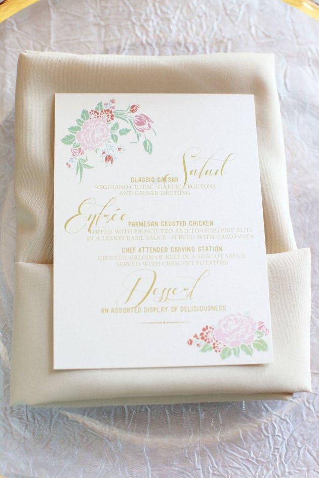 Wings of Glory Photography, Dogwood Blossom Stationery, Orlando Weddings, menu