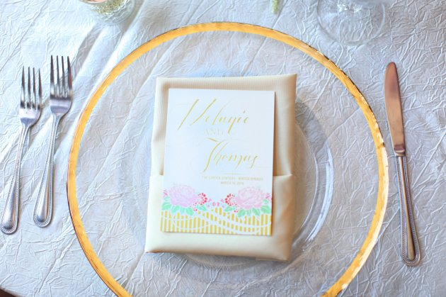 Wings of Glory Photography, Dogwood Blossom Stationery, Orlando Weddings, invite on charger