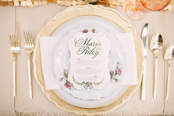 Kati Rosado Photography, Dogwood Blossom Stationery, Orlando Weddings, gold menu
