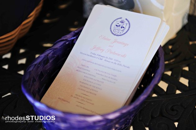Rhodes Studios, Dogwood Blossom Stationery, Orlando weddings, program