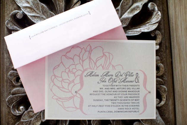 Sara Kauss Photography, Dogwood Blossom Stationery, Orlando weddings, invite with envelope