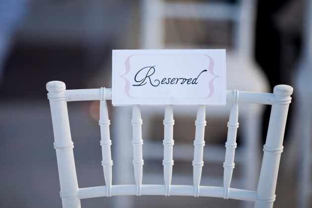 Sara Kauss Photography, Dogwood Blossom Stationery, Orlando weddings, reserved sign