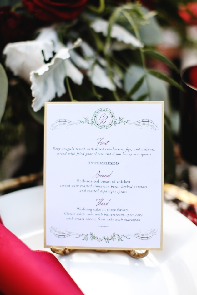 Menu, Dogwood Blossom Stationery, Holiday Shoot, The Acre, Vine and Light Photography