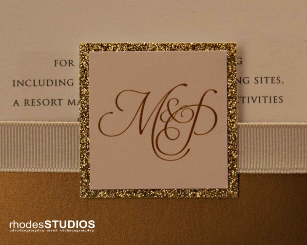 Rhodes Studios Photography, Dogwood Blossom Stationery, Mission Inn Resort, Orlando weddings, gold glitter invitation, custom monogram