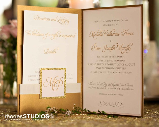 Rhodes Studios Photography, Dogwood Blossom Stationery, Mission Inn Resort, Wedding on the Water giveaway, gold and pink wedding invitation