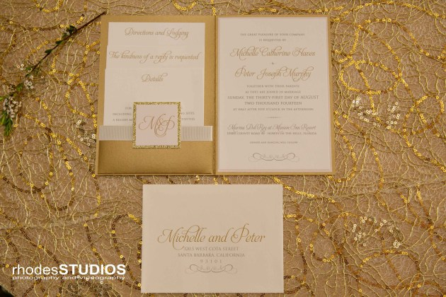 Rhodes Studios Photography, Dogwood Blossom Stationery, Mission Inn Resort, Wedding on the Water giveaway, gold wedding invitation