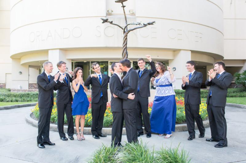 Thompson Photography Group, Orlando Science Center, Dogwood Blossom Stationery, Orlando weddings, blue wedding, bridal party