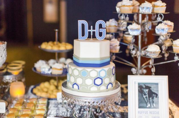 Thompson Photography Group, Orlando Science Center, Dogwood Blossom Stationery, Orlando weddings, blue wedding, cake table signs