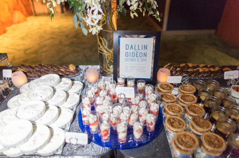 Thompson Photography Group, Orlando Science Center, Dogwood Blossom Stationery, Orlando weddings, blue wedding, dessert buffet sign