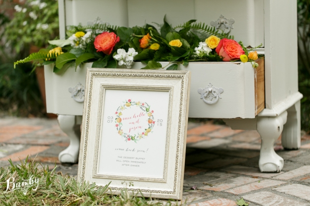 Bumby Photography, Peachtree House, Dogwood Blossom Stationery, Orlando weddings, dessert buffet sign
