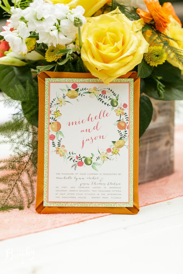 Bumby Photography, Peachtree House, Dogwood Blossom Stationery, Orlando weddings, orange invitation
