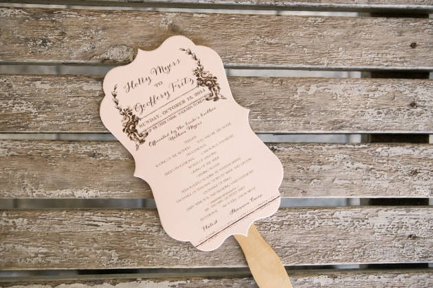 Henk Prinsloo Photography, Up the Creek Farms, Dogwood Blossom Stationery, Orlando weddings, blush and brown ceremony program fan