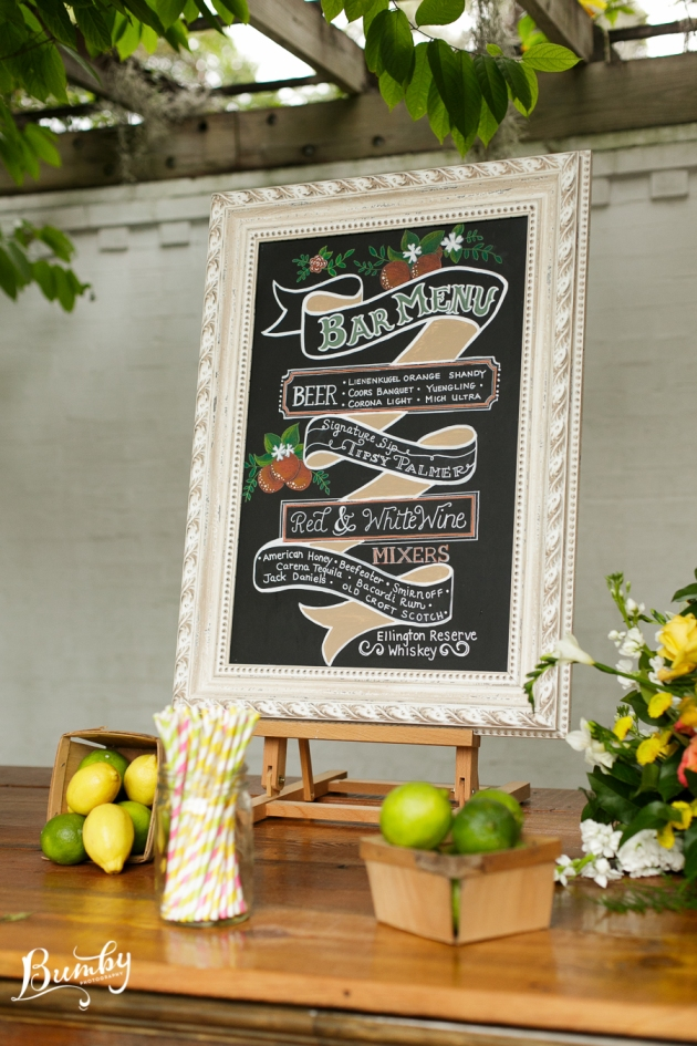 Bumby Photography, Peachtree House, Dogwood Blossom Stationery, Orlando, Citrus Wedding, Orange Wedding, Chalkboard Bar Sign