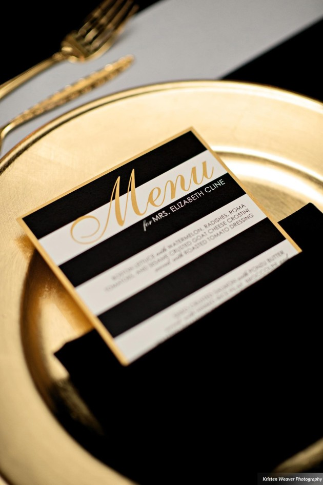 Dogwood Blossom, Kristen Weaver, Bride and Groom, Black White and Gold Menus, Art Deco Wedding. jpg