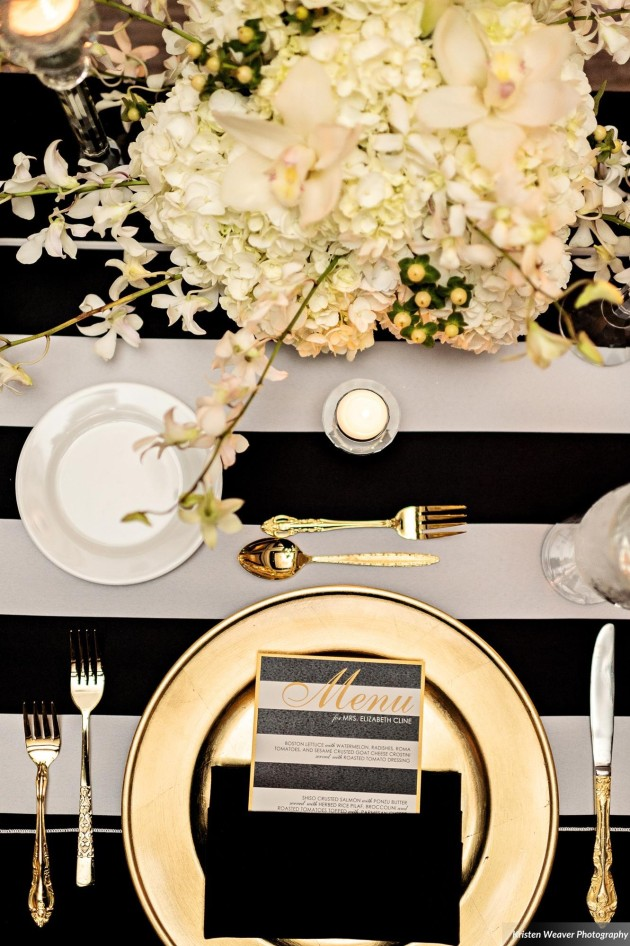 Dogwood Blossom, Kristen Weaver, Bride and Groom, Black White and Gold Menus, Glamorous Wedding. jpg