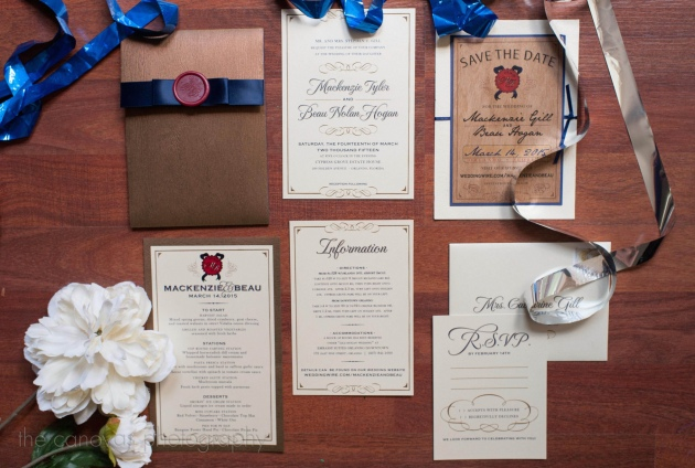 The Canovas Photography, Dogwood Blossom Stationery, Cypress Grove Estate House, blue invitations, wood invitations