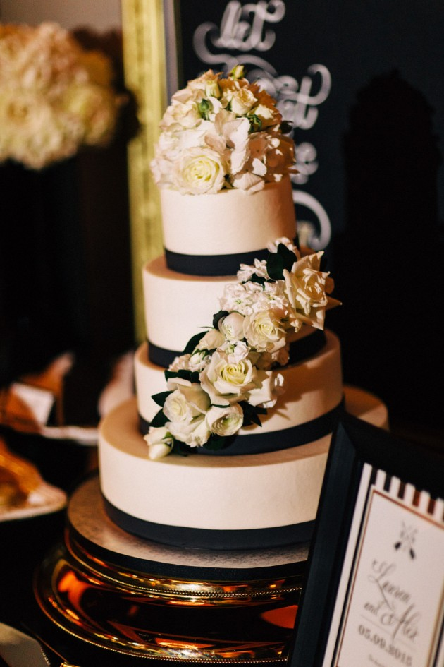 Black and White Wedding Cake, White Floral, Black and Gold Wedding, The Hons Photography, Omni Orlando Resort at ChampionsGate, Dogwood Blossom Stationery Event