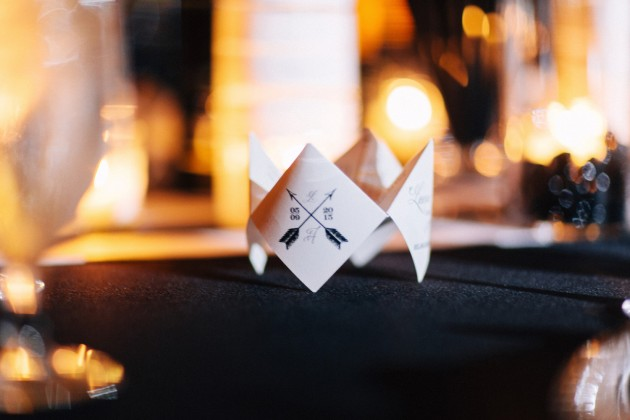 Cootie Catchers Favors, Black and Gold Wedding, The Hons Photography, Omni Orlando Resort at ChampionsGate, Dogwood Blossom Stationery Event
