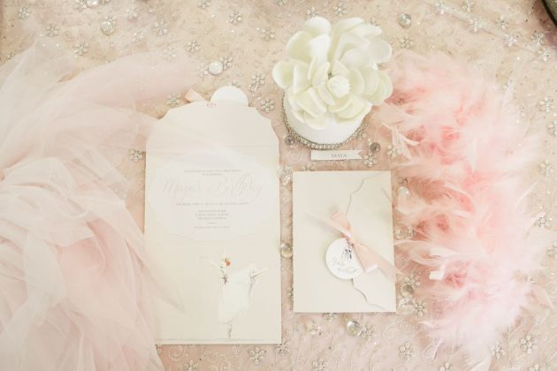 Custom Invitations, Pink Tulle, Two Sweets Bake Shop, Ballerina Birthday Inspiration, Bumby Photography, Dogwood Blossom Stationery Event