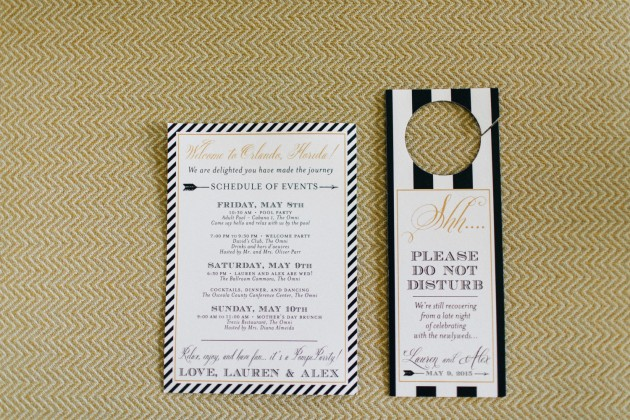 Do Not Disturb Sign, Black and Gold Wedding, The Hons Photography, Omni Orlando Resort at ChampionsGate, Dogwood Blossom Stationery Event