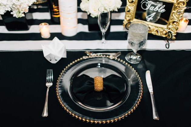 Gold Chargers, Black & Gold Reception, Black and Gold Wedding, The Hons Photography, Omni Orlando Resort at ChampionsGate, Dogwood Blossom Stationery Event