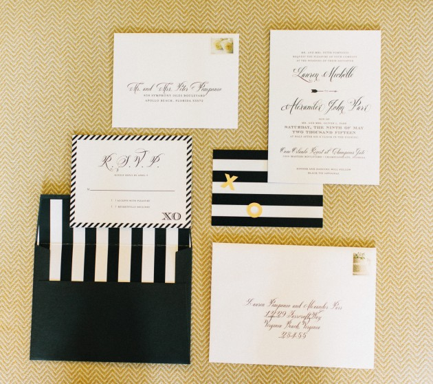 Invitations, Black and Gold Wedding, The Hons Photography, Omni Orlando Resort at ChampionsGate, Dogwood Blossom Stationery Event