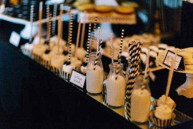Milk and Dessert Bar, Dessert Signs, Black and Gold Wedding, The Hons Photography, Omni Orlando Resort at ChampionsGate, Dogwood Blossom Stationery Event