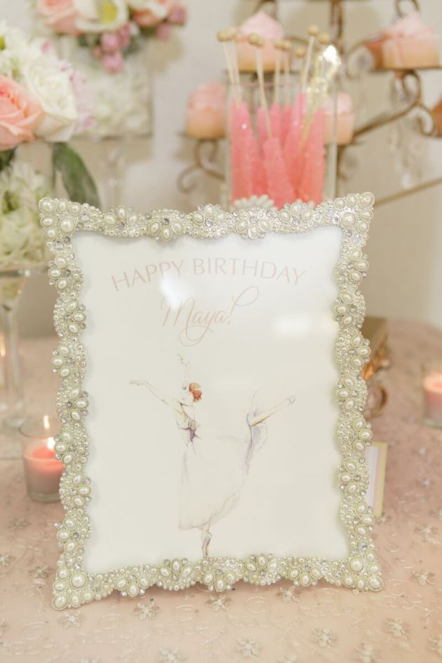 Name Card, Birthday Sign, Ballerina Birthday Inspiration, Bumby Photography, Dogwood Blossom Stationery Event