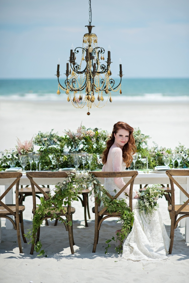 Bride at beach wedding reception