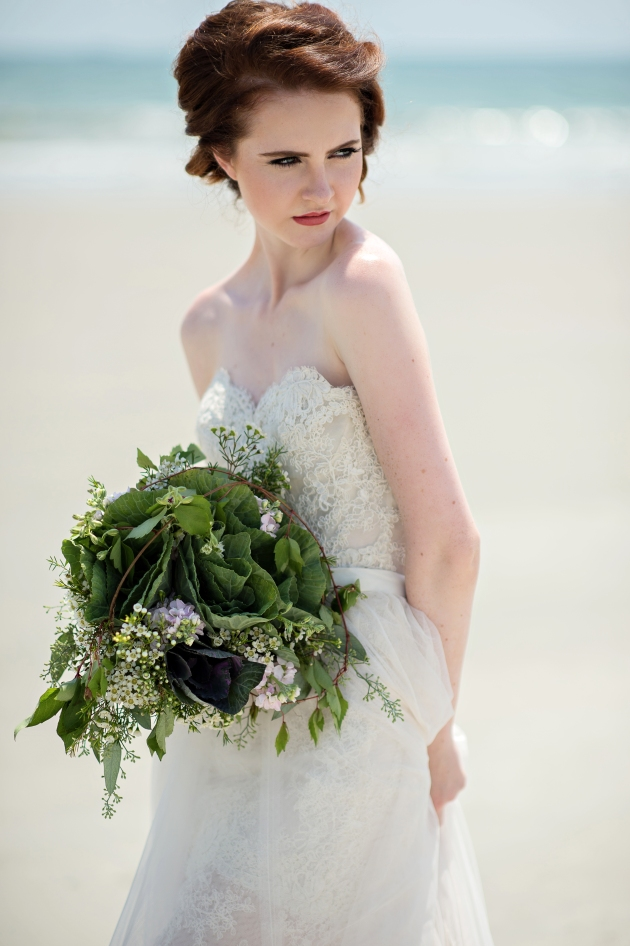 Bride with green bouquet