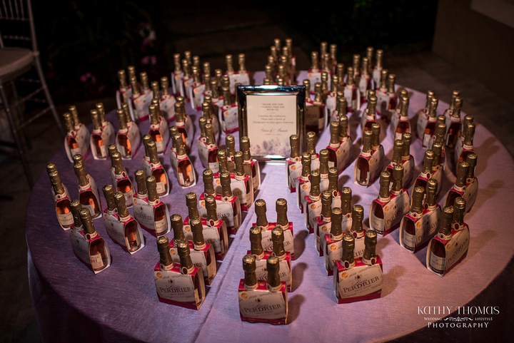 Champagne wedding favors - Real Wedding} Patricia And Armando's Purple And Blue Backyard