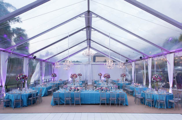 Clear tent - purple and blue wedding