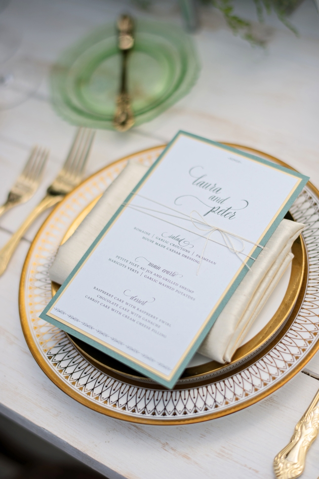 Green and gold menu