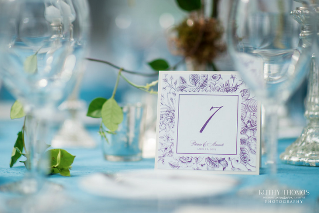 Purple table number card
