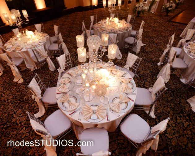 White and cream wedding decor